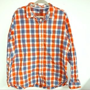 Orange & blue plaid button down 2x